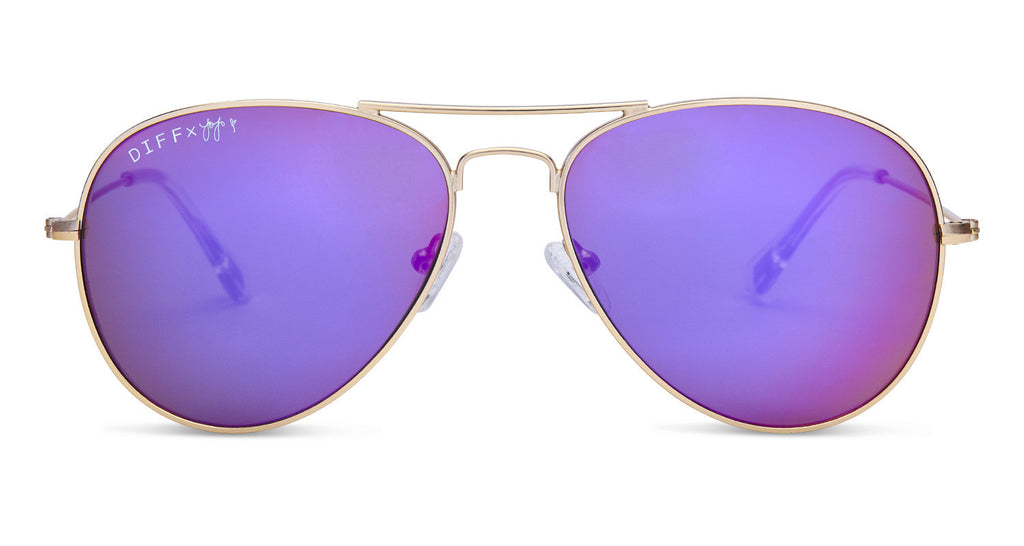 1addad3457 JOJO EDITION CRUZ - MATTE GOLD FRAME - PURPLE MIRROR LENS - DIFF Eyewear - 1  ...
