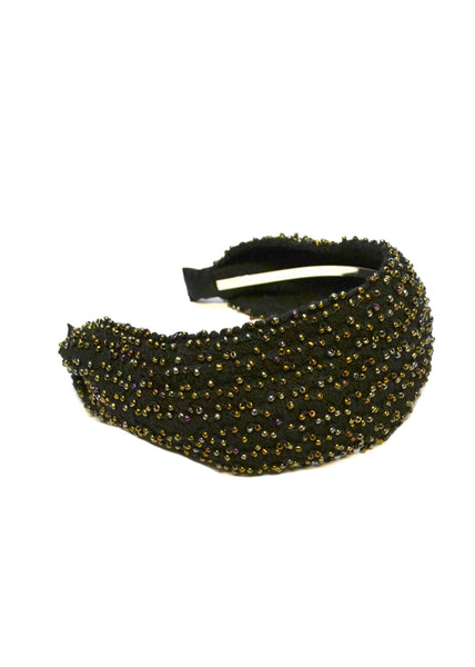 SALE Black Beaded Headband