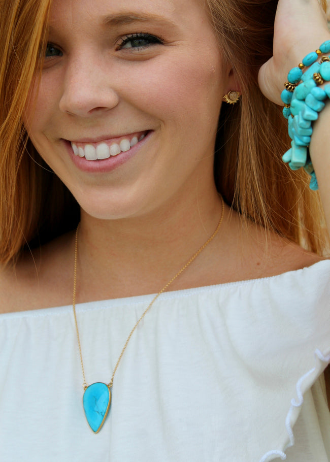 Upside Down Turquoise Teardrop