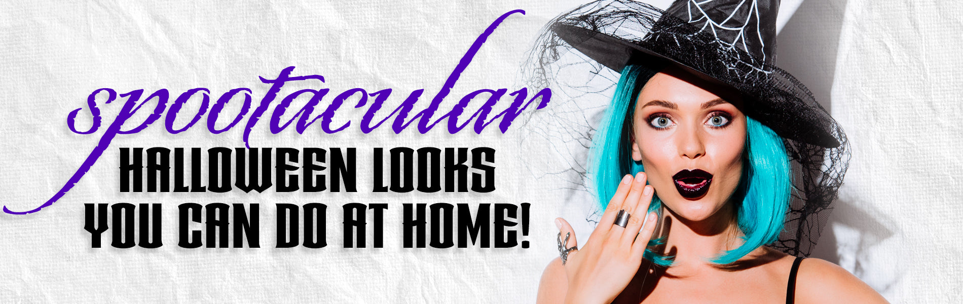 Spooktacular Halloween Looks You Can Do At Home. Woman wearing blue wig and witches hat.