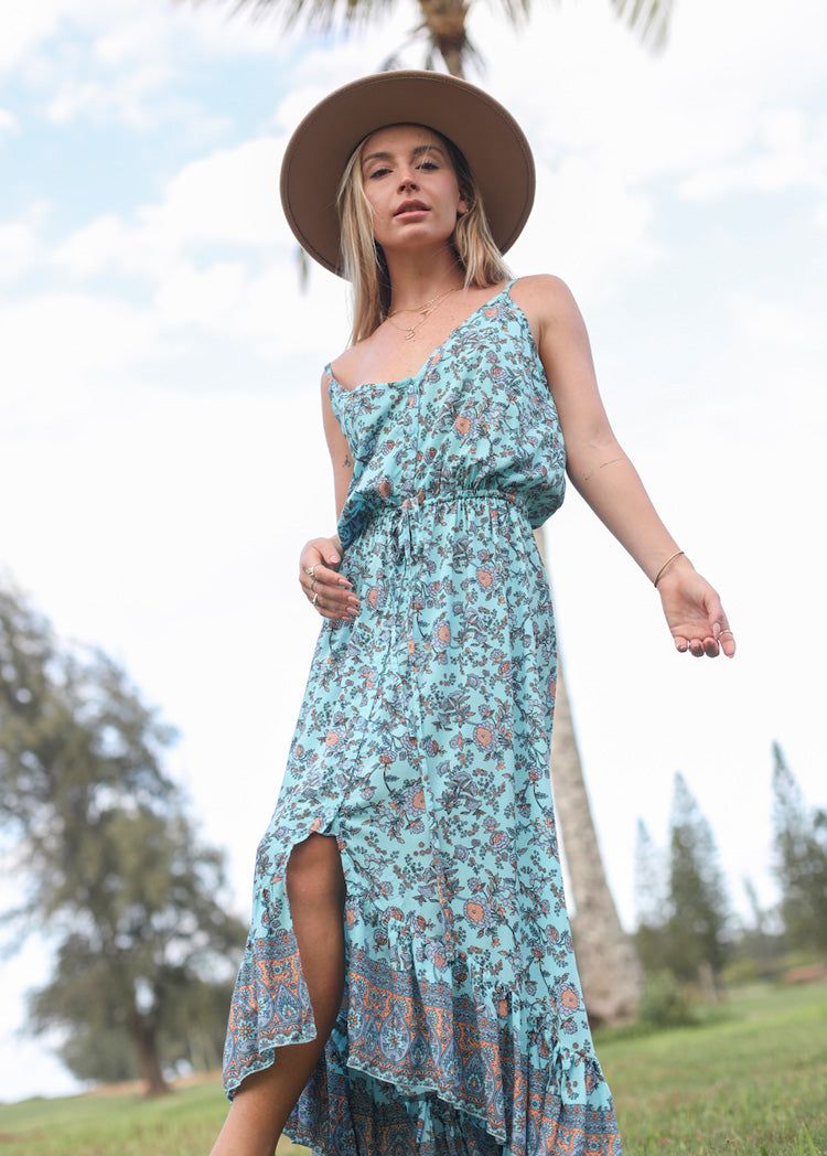 Maxi Dress Maui - Floral Turquoise