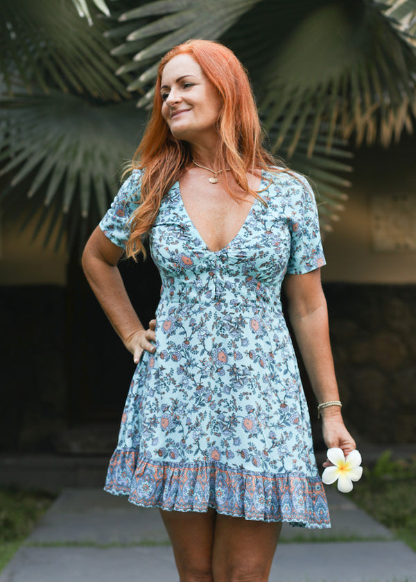 Mini Dress Samara - Turquoise Floral