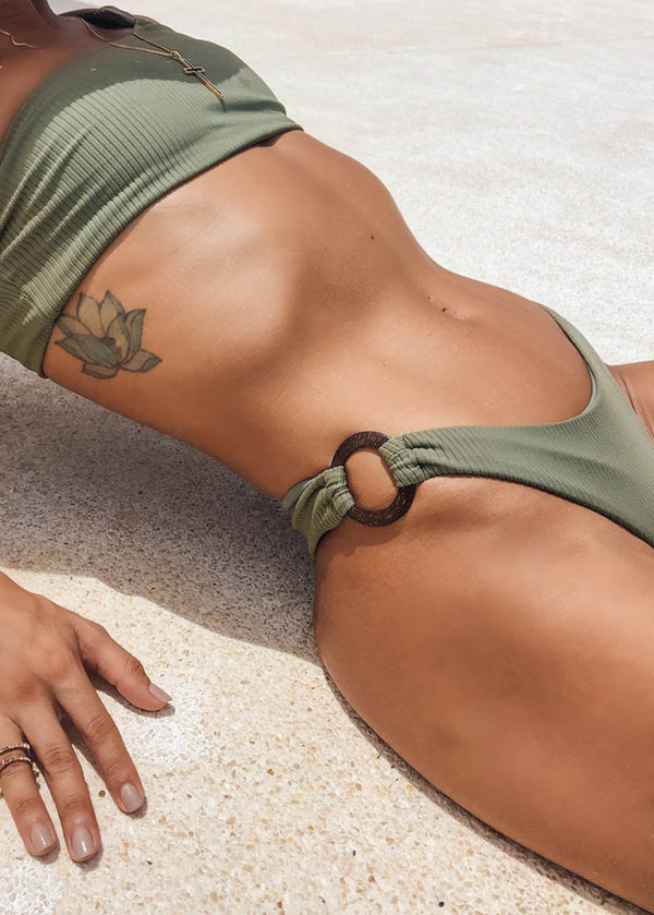 One Shoulder Bikini Top Coconut - Olive