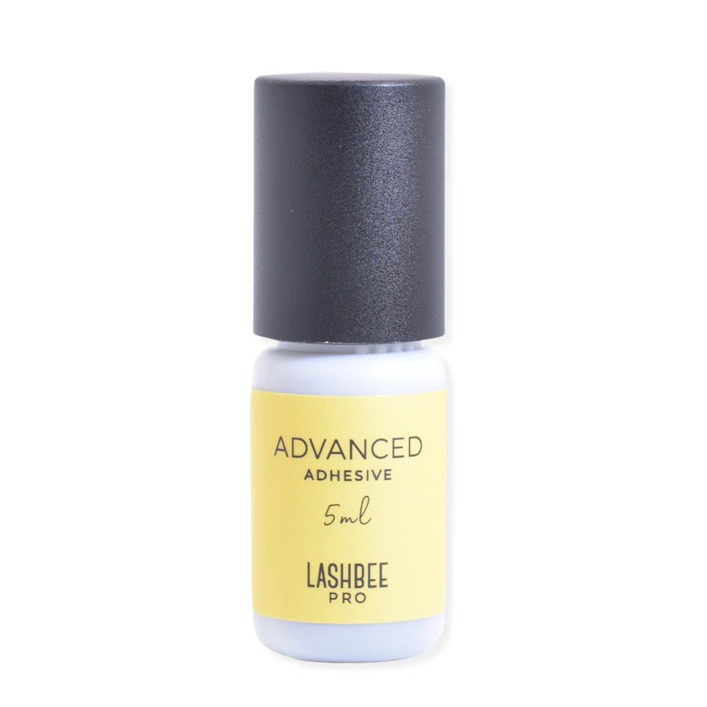 LashBeePro Advanced Adhesive for eyelash extensions - front of the yellow bottle with black cap