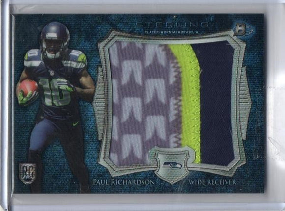 2014 Bowman Sterling Paul Richardson Jumbo Patch Rookie Card Blue Wave Seattle Seahawks - JM Collectibles