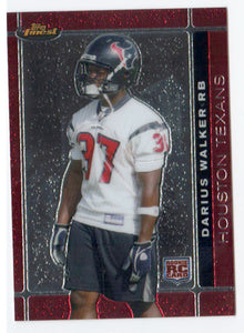 2007 Topps Finest Darius Walker Rookie Card Houston Texans - JM Collectibles