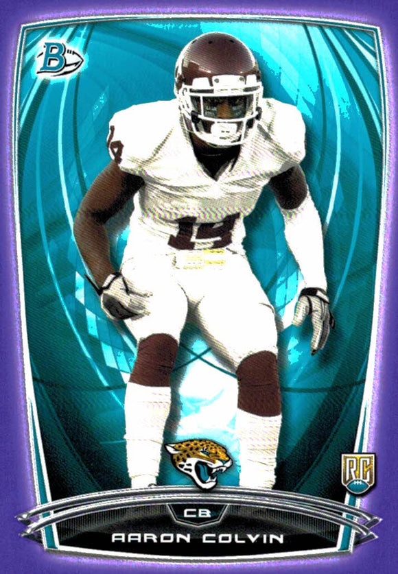 2014 Bowman Aaron Colvin Purple Border Rookie Card Jacksonville Jaguars - JM Collectibles