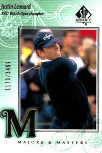 2002 SP Authentic Justin Leonard Majors & Masters Golf Card /3499 - JM Collectibles