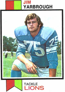 1973 Topps Jim Yarbrough Detroit Lions - JM Collectibles