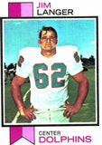 1973 Topps Jim Langer Miami Dolphins - JM Collectibles