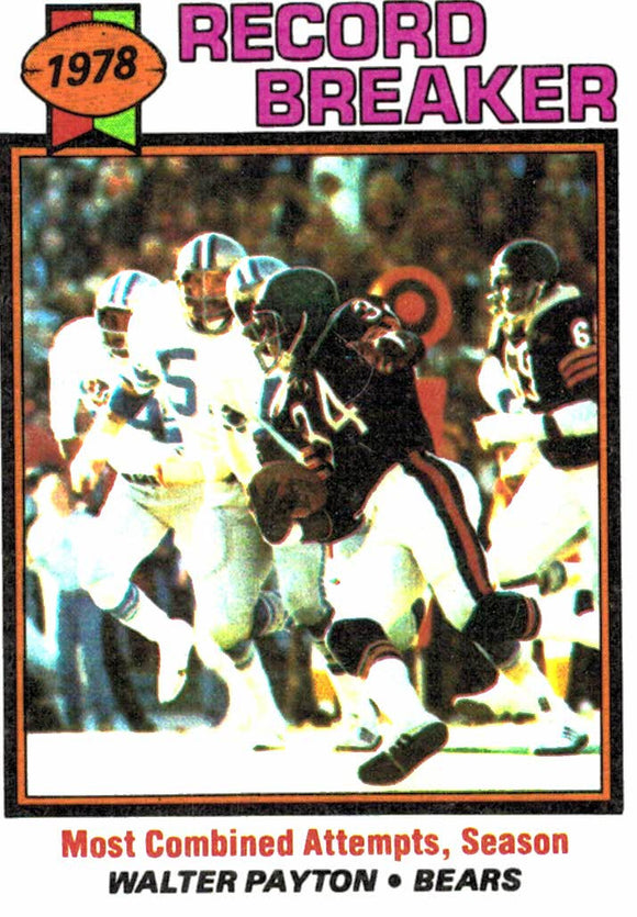 1979 Topps Walter Payton Record Breaker Card Chicago Bears - JM Collectibles