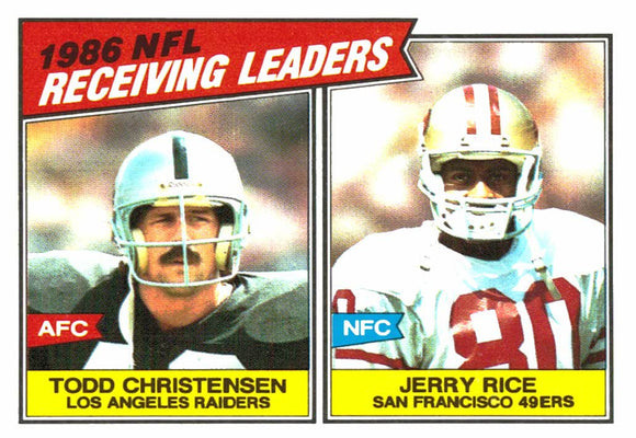 1987 Topps Jerry Rice Todd Christensen League Leaders Card Raiders 49ers - JM Collectibles