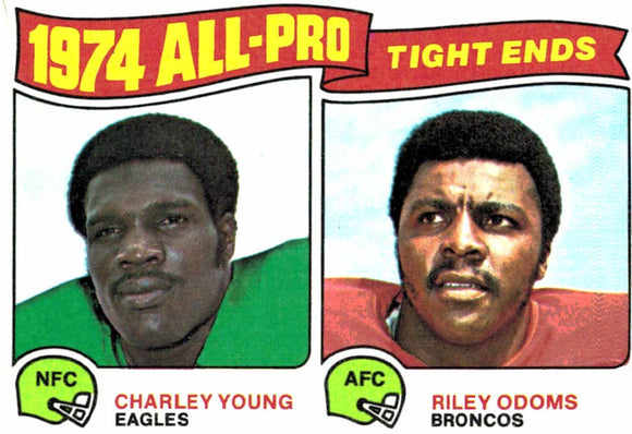 1975 Topps Charley Young Riley Odoms All Pro Tight Ends Card - JM Collectibles