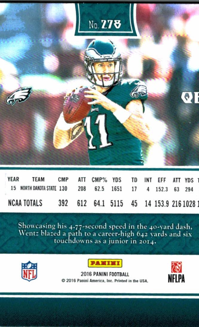 2016 Panini Carson Wentz Rookie Card Philadelphia Eagles