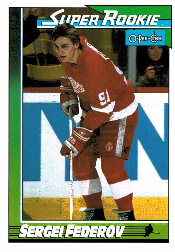 1991-92 O-Pee-Chee Sergei Federov Super Rookie Detroit Red Wings - JM Collectibles