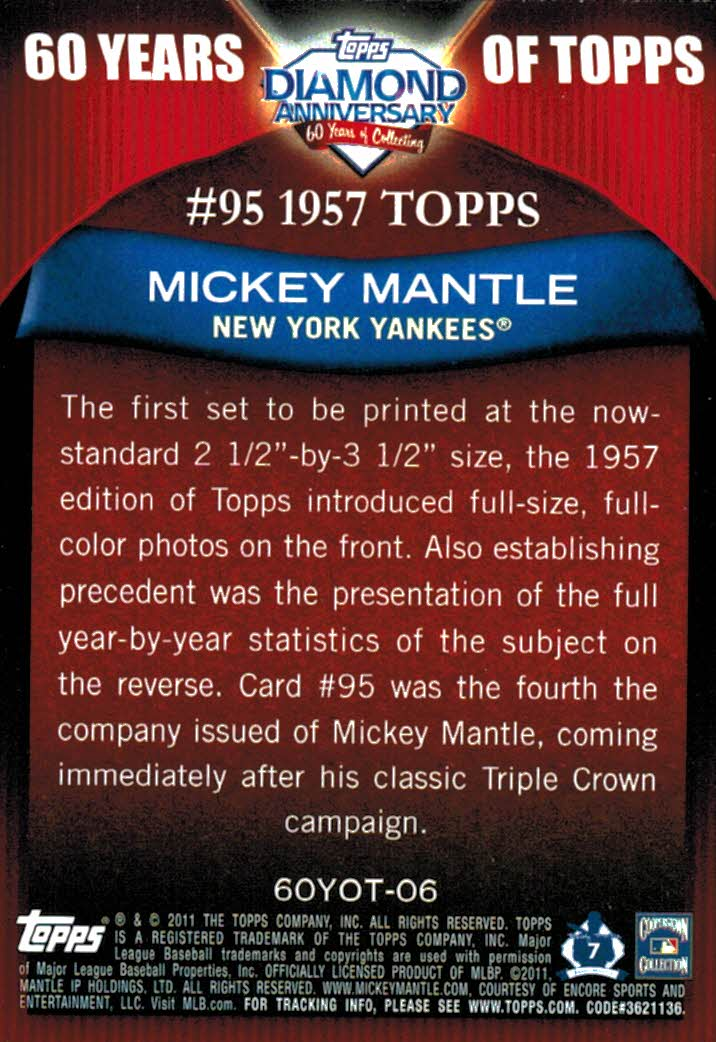 2011 Topps Mickey Mantle 60 Years Of Topps Insert Card New York Yankees