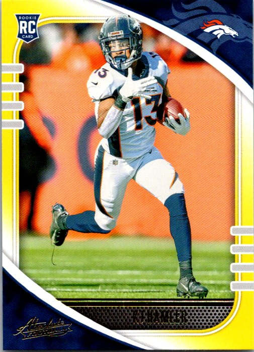 2020 Panini Absolute Yellow Parallel Rookie Card KJ K.J. Hamler Denver Broncos