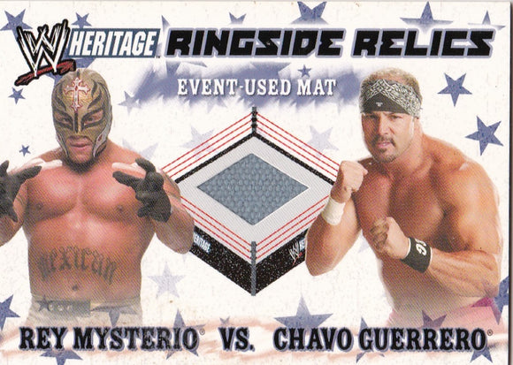 2007 Topps Heritage 3 Rey Mysterio Chavo Guerrero Event Used Mat WWE Summer Slam - JM Collectibles