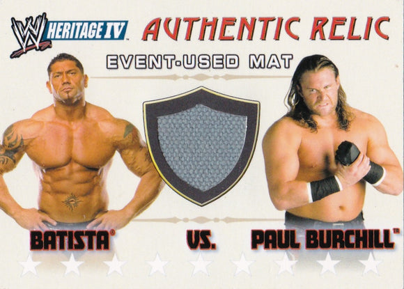 2008 Topps Heritage IV Batista Vs Paul Burchill Event Used Mat WWE Raw Chicago - JM Collectibles
