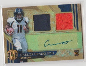 2017 Panini Gold Standard Jersey Autograph /75 Carlos Henderson Rookie Card Denver Broncos