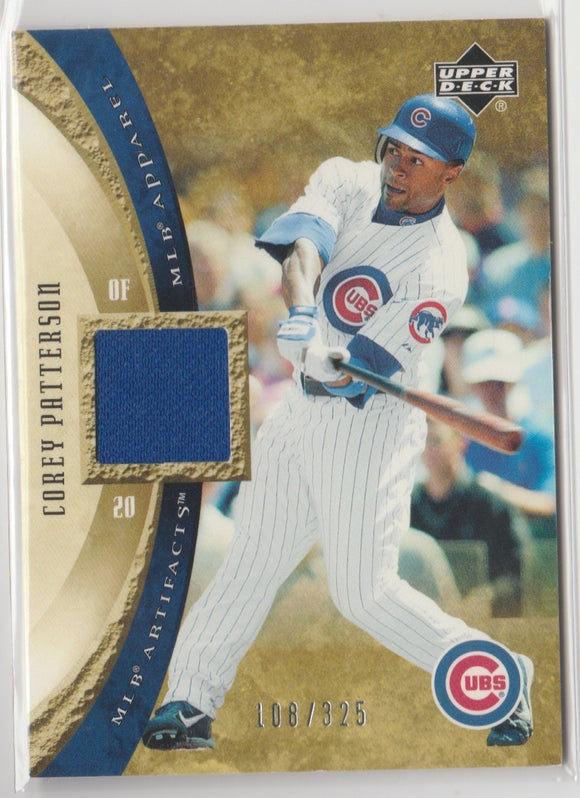 2005 Upper Deck Artifacts MLB Apparel /325 Corey Patterson Game Used Jersey Chicago Cubs
