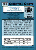 2001 Topps Archives Reserve Reprint 88 Christian Okoye Kansas City Chiefs
