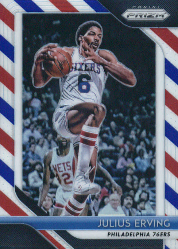2018-19 Panini Prizm Prizms Red White Blue Julius Erving Philadelphia 76ers