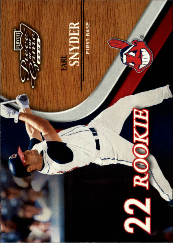 2002 Playoff Piece Of The Game Earl Snyder Rookie Card Cleveland Indians /500