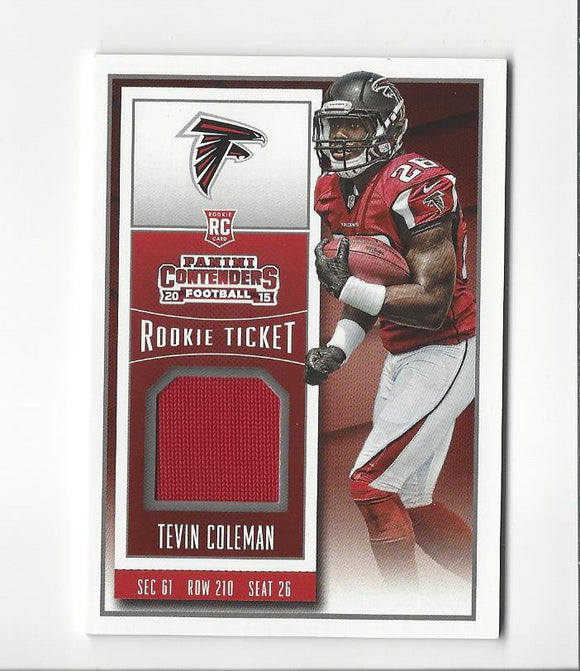2015 Panini Contenders Rookie Ticket Swatches Tevin Coleman Atlanta Falcons