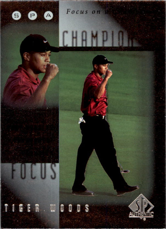 2001 SP Authentic Tiger Woods Focus On A Champion