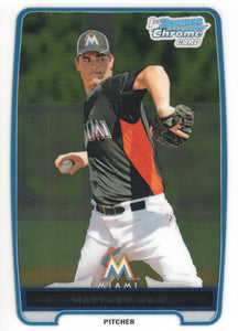 2012 Bowman Chrome Prospects Matthew Neil Miami Marlins