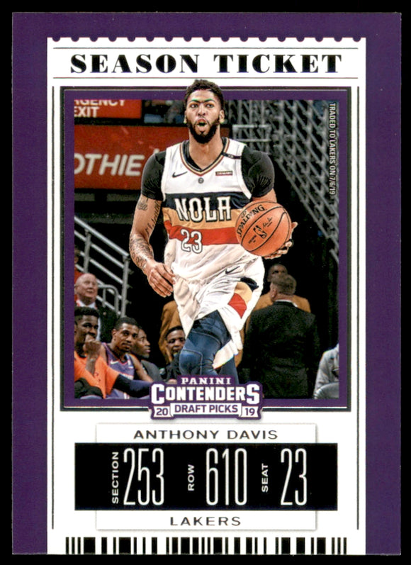 2019-20 Panini Contenders Draft Picks Anthony Davis Los Angeles Lakers