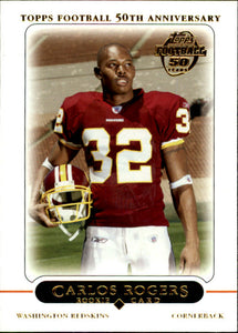 2005 Topps Carlos Rogers Rookie Card Washington Redskins