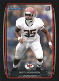 2013 Bowman Black Nico Johnson Rookie Card Kansas City Chiefs
