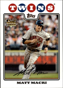 2008 Topps Update Matt Macri Rookie Card Minnesota Twins