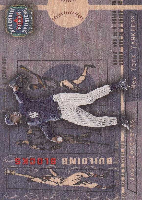 2003 Fleer Splendid Splinters Wood /999 Jose Contreras Rookie Card New York Yankees