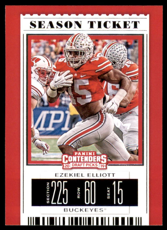 2019 Panini Contenders Draft Picks Ezekiel Elliott Dallas Cowboys