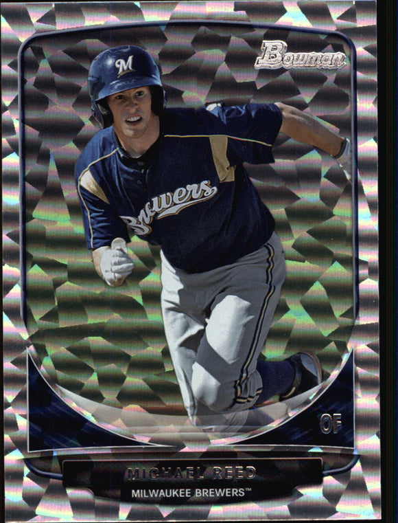 2013 Bowman Prospects Silver Ice Michael Reed Milwaukee Brewers