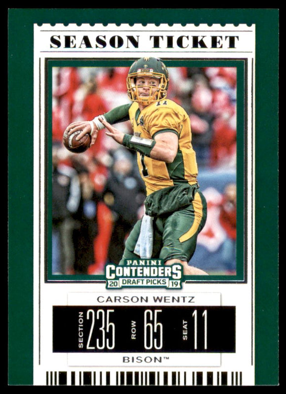 2019 Panini Contenders Draft Picks Carson Wentz Philadelphia Eagles