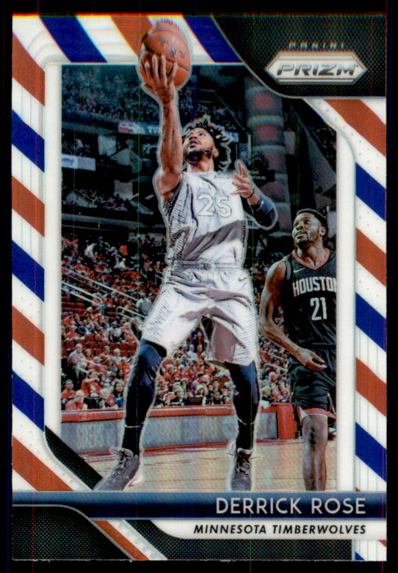 2018-19 Panini Prizm Prizms Red White And Blue Derrick Rose Minnesota Timberwolves