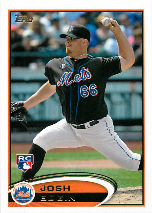 2012 Topps Update Josh Edgin Rookie Card New York Mets