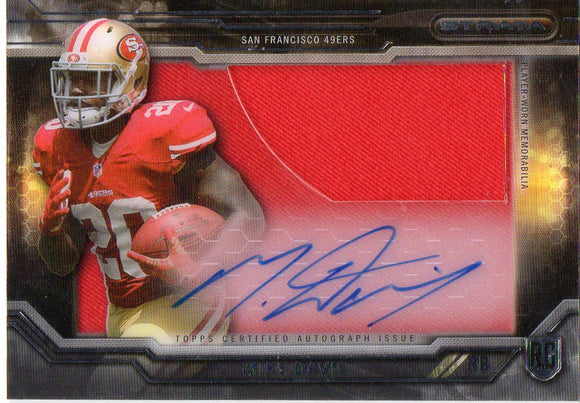 2015 Topps Strata Clear Cuts Mike Davis Autograph Patch Card San Francisco 49ers - JM Collectibles