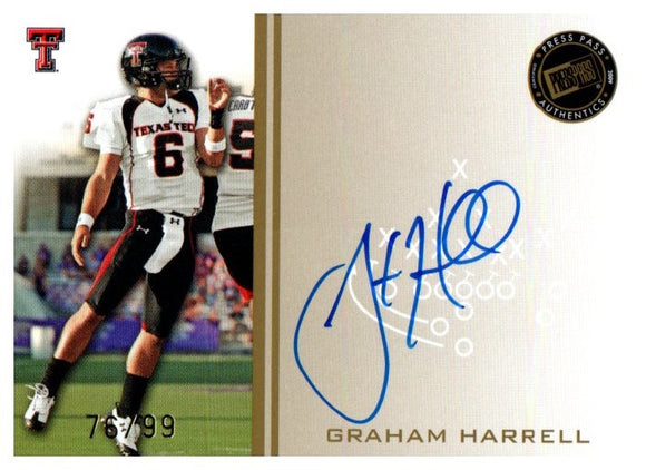 2009 Press Pass Signings Gold Graham Harrell #D/99 Texas Tech Red Raiders Auto - JM Collectibles