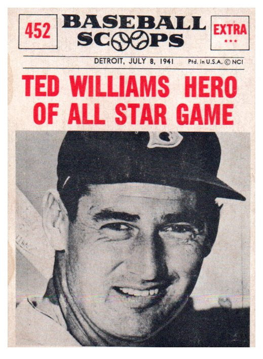 1961 Nu Card Ted Williams Baseball Scoops Boston Red Sox - JM Collectibles