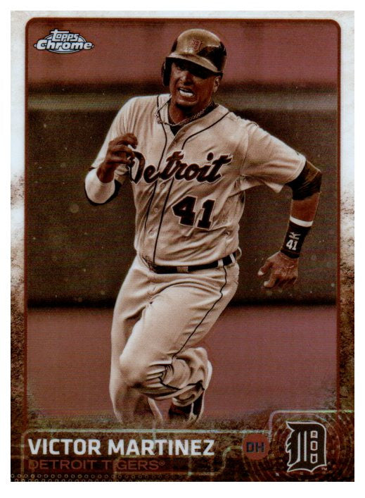 2015 Topps Chrome Victor Martinez Sepia Refractor Card Detroit Tigers - JM Collectibles