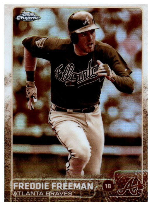 2015 Topps Chrome Freddie Freeman Sepia Refractor Card Atlanta Braves - JM Collectibles