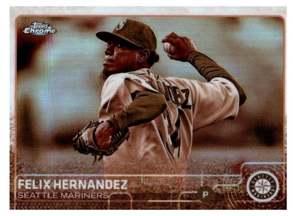 2015 Topps Chrome Felix Hernandez Sepia Refractor Card Seattle Mariners - JM Collectibles