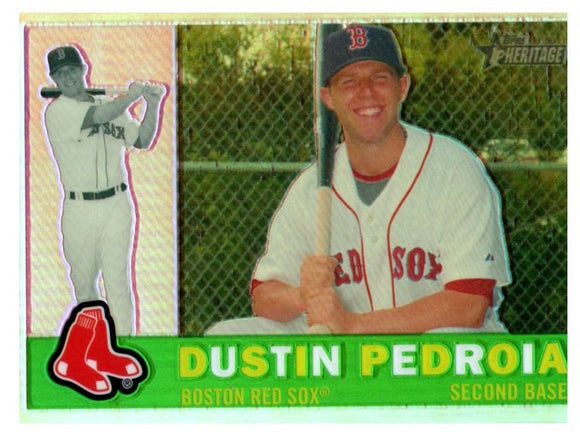 2009 Topps Heritage Chrome Dustin Pedroia Refractor #D/560 Boston Red Sox - JM Collectibles