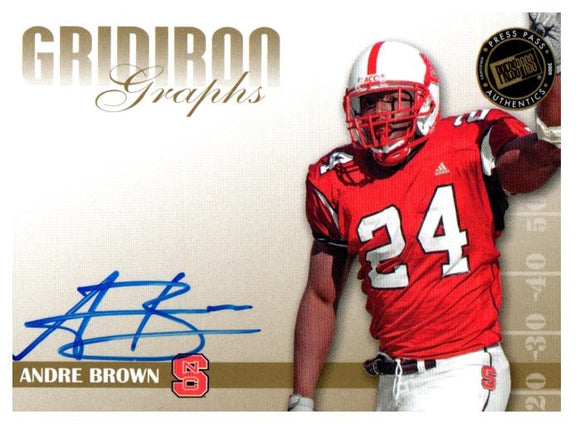 2009 Press Pass Andre Brown Gridiron Graphs Autograph Card New York Giants - JM Collectibles