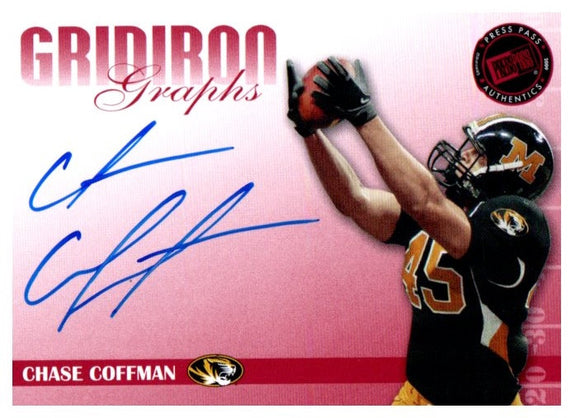 2009 Press Pass Chase Coffman Gridiron Graphs Auto Red #D/150 Cincinnati Bengals - JM Collectibles